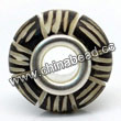 Carved Bone Beads, Black, Stripe, Large Hole/European style, Rondelle, Approx 15x8mm, Hole:Approx 5mm, Sold by PCS