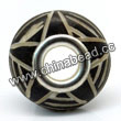 Carved Bone Beads, Black, Five-pointed Star, Large Hole/European style, Rondelle, Approx 15x8mm, Hole:Approx 5mm, Sold by PCS