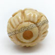 Carved Bone Beads, Ivory, Beautiful flower with eight petals, Round, Approx 10mm, Hole:Approx 2mm, Sold by PCS