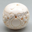Carved Bone Beads, White, Adorable dragon with Chinese longlife symbol, Round, Approx 32mm, Hole:Approx 2mm, Sold by PCS
