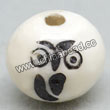 Carved Bone Beads, White, Adorable black owl, Round, Approx 12mm, Hole:Approx 2mm, Sold by PCS