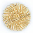 Carved Bone Pendants, Ivory, Charming sunflower, Flat round, Approx 35x5mm, Hole: Approx 2mm, Sold by PCS