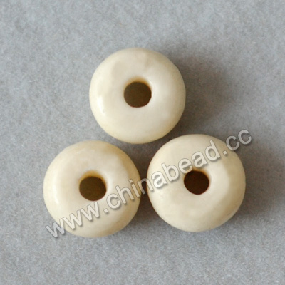 Carved Bone Beads, White, Smooth bead, Rondelle, Approx 4x6mm, Hole:Approx 2mm, Sold by PCS