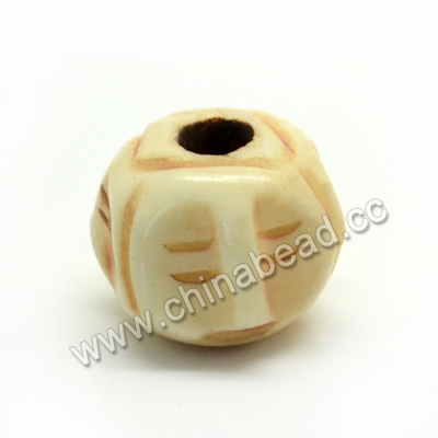 Carved Bone Beads, Antique, Round, Approx 10mm, Hole:Approx 2mm, Sold by PCS