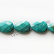 Gemstone Beads, Magnesite, Turquoise blue, Faceted flat teardrop / pear, Approx 18x25x6mm, Hole: Approx 1mm, Sold per 16-inch strand