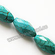 Gemstone Beads, Magnesite, Turquoise blue, Faceted oval, Approx 10x20mm, Hole: Approx 1mm, Sold per 16-inch strand