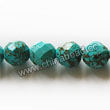 Gemstone Beads, Magnesite, Turquoise blue, Faceted round, Approx 8mm, Hole: Approx 1mm, Sold per 16-inch strand