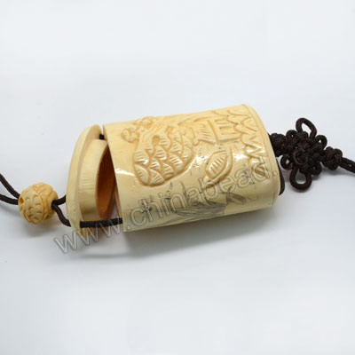 Carved Bone Jewelry Box, Ivory, Beautiful scenery & flower scrimshaw, Cylinder, Approx 58x42x28mm, Hole: Approx 2mm, Sold by PCS