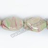 Natural Veins ceramic beads, White background with pink and light green veins, Nugget, Approx 17x26x13mm, Hole: Approx 2mm, Sold by PCS
