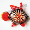 Fashion Pendants, Handmade lampworked glass pendant, Clear and black with orange flower, Copper-colored glitter, Lovely fish, Approx 47x40x11mm, Hole:Approx 10mm, Sold by PCS