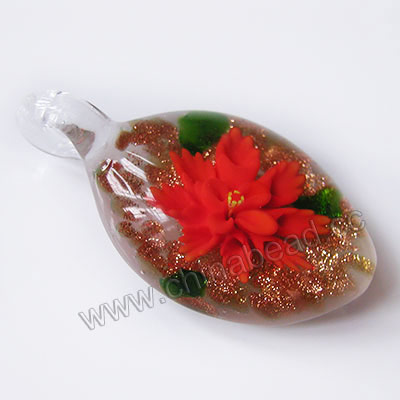 Fashion Pendants, Handmade lampworked glass pendant, Clear crystal with orange flower, Copper-colored glitter, Flat oval, Approx 50x26x15mm, Hole:Approx 10mm, Sold by PCS