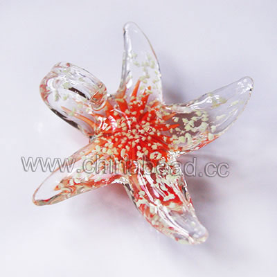 Fashion Pendants, Handmade lampworked glass pendant, Clear crystal   with orange flower, fluorescence, Sea star, Approx 52x52x18mm, Hole:Approx 10mm, Sold by PCS