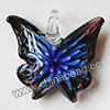 Fashion Pendants, Handmade lampworked glass pendant, Clear and dark purple with blue flower, Copper-colored glitter, Butterfly, Approx 42x40x14mm, Hole:Approx 10mm, Sold by PCS
