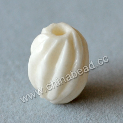 Carved Bone Beads, White, Beauteous corrugated twist, Oval, Approx 9x12mm, Hole: Approx 2mm, Sold by PCS