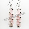 Fashion Earrings, Handmade acrylic beads dangle / Chandelier earrings, Acrylic leaf beads in light pink color with silver bells, Approx 62x20mm, Sold by pairs