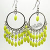Fashion Earrings, Handmade acrylic beads dangle / Chandelier earrings, Acrylic rice beads in yellow color with silver metal circle, Approx 70x40mm, Sold by pairs