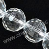 Glass Beads, Hand-cut Crystal, Crystal, Faceted round, 96 facets,  Approx 14mm, Hole: Approx 1mm, Sold by strands