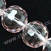 Glass Beads, Hand-cut Crystal, Light rose, Faceted round, 96 facets,  Approx 14mm, Hole: Approx 1mm, Sold by strands