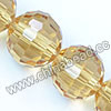 Glass Beads, Hand-cut Crystal, Champagne, Faceted round, 96 facets,  Approx 14mm, Hole: Approx 1mm, Sold by strands