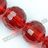 Glass Beads, Hand-cut Crystal, Light siam, Faceted round, 96 facets,  Approx 14mm, Hole: Approx 1mm, Sold by strands