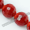 Glass Beads, Hand-cut Crystal, Milky red, Faceted round, 96 facets,  Approx 14mm, Hole: Approx 1mm, Sold by strands