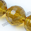 Glass Beads, Hand-cut Crystal, Light topaz, Faceted round, 96 facets,  Approx 16mm, Hole: Approx 1mm, Sold by strands