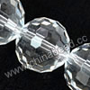 Glass Beads, Hand-cut Crystal, Crystal, Faceted round, 96 facets,  Approx 16mm, Hole: Approx 1mm, Sold by strands