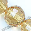 Glass Beads, Hand-cut Crystal, Champagne, Faceted round, 96 facets,  Approx 16mm, Hole: Approx 1mm, Sold by strands