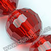 Glass Beads, Hand-cut Crystal, Light siam, Faceted round, 96 facets,  Approx 16mm, Hole: Approx 1mm, Sold by strands