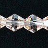 Glass Beads, Hand-cut Crystal, Light rose, Faceted diamond or bicone, Approx 6x6mm, Hole: Approx 1mm, Sold by strands