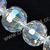 Glass Beads, Hand-cut Crystal, Crystal aurora borealis, Faceted round, 96 facets, Approx 14mm, Hole: Approx 1mm, Sold by strands