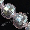Glass Beads, Hand-cut Crystal, Light rose aurora borealis, Faceted round, 96 facets, Approx 14mm, Hole: Approx 1mm, Sold by strands