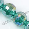 Glass Beads, Hand-cut Crystal, Teal aurora borealis, Faceted round, 96 facets, Approx 14mm, Hole: Approx 1mm, Sold by strands