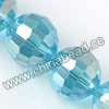 Glass Beads, Hand-cut Crystal, Aquamarine aurora borealis, Faceted round, 96 facets, Approx 14mm, Hole: Approx 1mm, Sold by strands