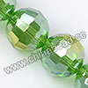 Glass Beads, Hand-cut Crystal, Dark emerald aurora borealis, Faceted round, 96 facets, Approx 14mm, Hole: Approx 1mm, Sold by strands