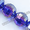 Glass Beads, Hand-cut Crystal, Cobalt blue aurora borealis, Faceted round, 96 facets, Approx 14mm, Hole: Approx 1mm, Sold by strands