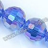 Glass Beads, Hand-cut Crystal, Sapphire aurora borealis, Faceted round, 96 facets, Approx 14mm, Hole: Approx 1mm, Sold by strands