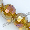 Glass Beads, Hand-cut Crystal, Light topaz aurora borealis, Faceted round, 96 facets, Approx 14mm, Hole: Approx 1mm, Sold by strands