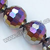 Glass Beads, Hand-cut Crystal, Garnet aurora borealis, Faceted round, 96 facets, Approx 14mm, Hole: Approx 1mm, Sold by strands