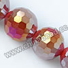 Glass Beads, Hand-cut Crystal, Milky red aurora borealis, Faceted round, 96 facets, Approx 14mm, Hole: Approx 1mm, Sold by strands