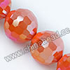 Glass Beads, Hand-cut Crystal, Milky orange aurora borealis, Faceted round, 96 facets, Approx 14mm, Hole: Approx 1mm, Sold by strands