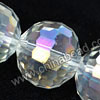 Glass Beads, Hand-cut Crystal, Crystal aurora borealis, Faceted round, 96 facets, Approx 16mm, Hole: Approx 1mm, Sold by strands