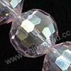 Glass Beads, Hand-cut Crystal, Light rose aurora borealis, Faceted round, 96 facets, Approx 16mm, Hole: Approx 1mm, Sold by strands