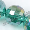 Glass Beads, Hand-cut Crystal, Teal aurora borealis, Faceted round, 96 facets, Approx 16mm, Hole: Approx 1mm, Sold by strands