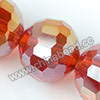 Glass Beads, Hand-cut Crystal, Light siam aurora borealis, Faceted round, 96 facets, Approx 16mm, Hole: Approx 1mm, Sold by strands
