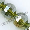 Glass Beads, Hand-cut Crystal, Peridot aurora borealis, Faceted round, 96 facets, Approx 14mm, Hole: Approx 1mm, Sold by strands