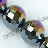 Glass Beads, Hand-cut Crystal, Jet aurora borealis, Faceted round, 96 facets, Approx 14mm, Hole: Approx 1mm, Sold by strands