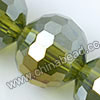 Glass Beads, Hand-cut Crystal, Peridot aurora borealis, Faceted round, 96 facets, Approx 16mm, Hole: Approx 1mm, Sold by strands