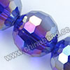Glass Beads, Hand-cut Crystal, Cobalt blue aurora borealis, Faceted round, 96 facets, Approx 16mm, Hole: Approx 1mm, Sold by strands