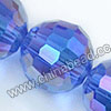 Glass Beads, Hand-cut Crystal, Sapphire aurora borealis, Faceted round, 96 facets, Approx 16mm, Hole: Approx 1mm, Sold by strands